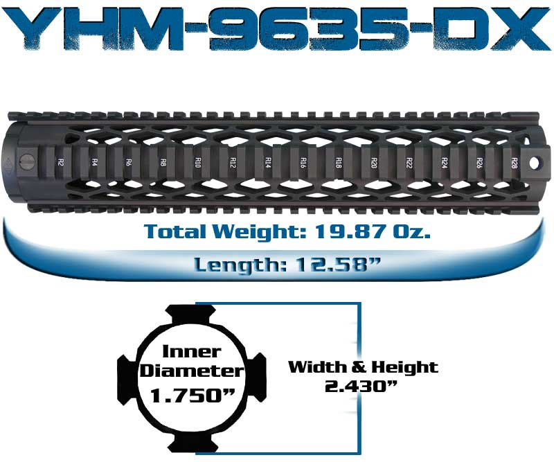YHM Rifle Length Diamond Quad Rail